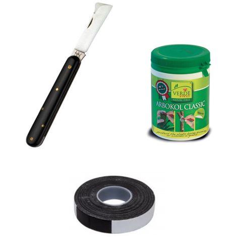 Kit per innesto piante con coltello due buoi mastice e nastro autoagglomerante