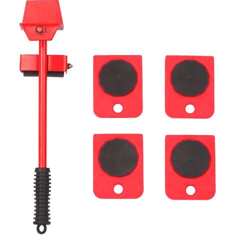 """main image of """"Kit per spostamento di mobili pesanti Sistema di spostamento per sollevatore a rulli per elettrodomestici Easy Mover con 4 cursori per ruote Kit per sollevatore per tavolo mobile per divano mobile Testa di leva regolabile a 180 gradi, rossa"""""""