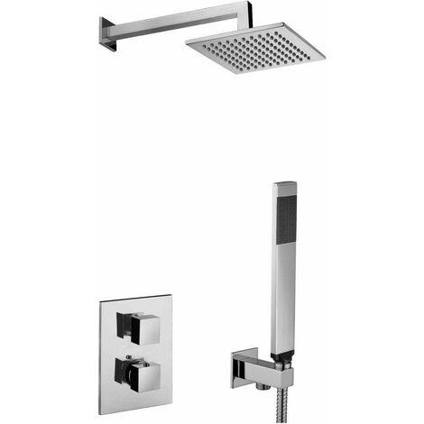 Kit Perfecto Set de ducha termostático Paffoni Level KITLEQ518CR/M | Cromo - acero inoxidable - Con set de ducha