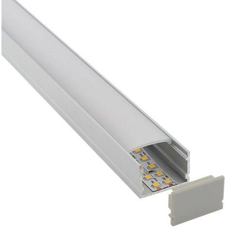 KIT - Perfil aluminio FAT para tiras LED, 2 metros