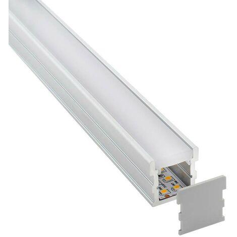 KIT - Perfil aluminio FOOT para tiras LED, 2 metros