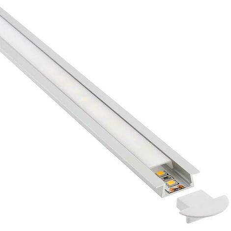 KIT - Perfil aluminio KOBE para tiras LED, 2 metros