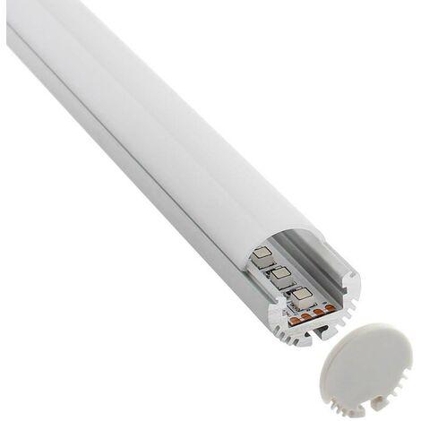 KIT - Perfil aluminio KROB-B para tiras LED, 2 metros