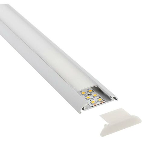 KIT - Perfil aluminio MARK para tiras LED, 1 metro