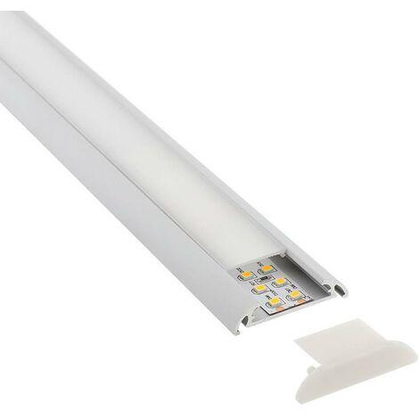 KIT - Perfil aluminio MARK para tiras LED, 2 metros