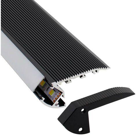 KIT - Perfil aluminio negro CINEMA para tiras LED, 2 metros
