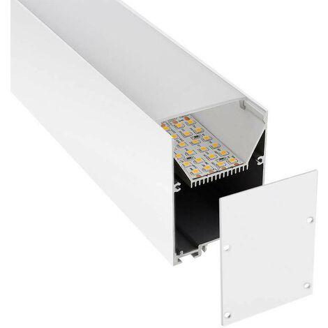 KIT - Perfil aluminio SERK para tiras LED, 1 metro, blanco