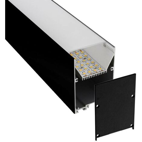 KIT - Perfil aluminio SERK para tiras LED, 2 metros, negro
