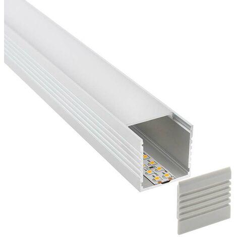 KIT - Perfil aluminio VART para tiras LED, 2 metros