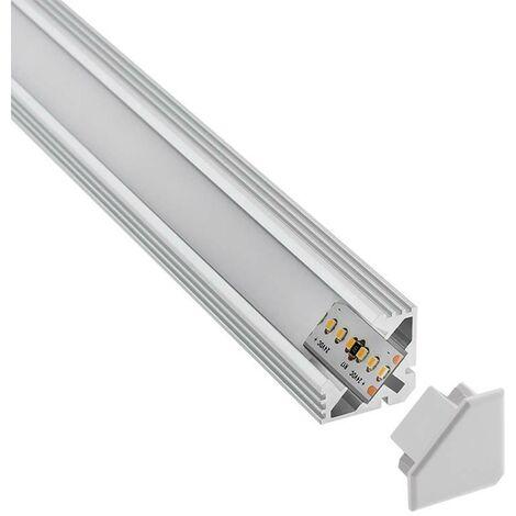 KIT - Perfil aluminio VENCO para tiras LED, 1 metro
