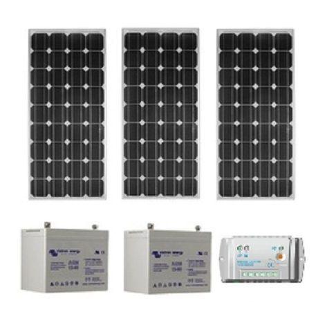 Kit solaire SITE ISOLE 240Wc - 12V (Capacité Batterie  : Kit avec 3 batteries Gel 90 Ah )