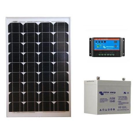 Kit solaire SITE ISOLE 55Wc - 12V (Capacité Batterie  : Kit avec 1 batterie Gel 60 Ah)
