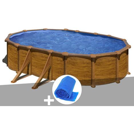 Kit piscine acier aspect bois Gré Mauritius ovale 6,34 x 3,99 x 1,32 m + Bâche à bulles