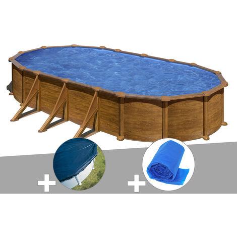 Kit piscine acier aspect bois Gré Mauritius ovale 7,44 x 3,99 x 1,32 m + Bâche hiver + Bâche à bulles