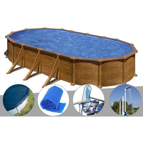 Kit piscine acier aspect bois Gré Mauritius ovale 7,44 x 3,99 x 1,32 m + Bâche hiver + Bâche à bulles + Kit d'entretien + Douche