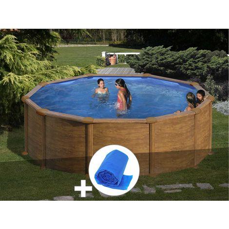 Kit piscine acier aspect bois Gré Mauritius ronde 3,70 x 1,32 m + Bâche à bulles