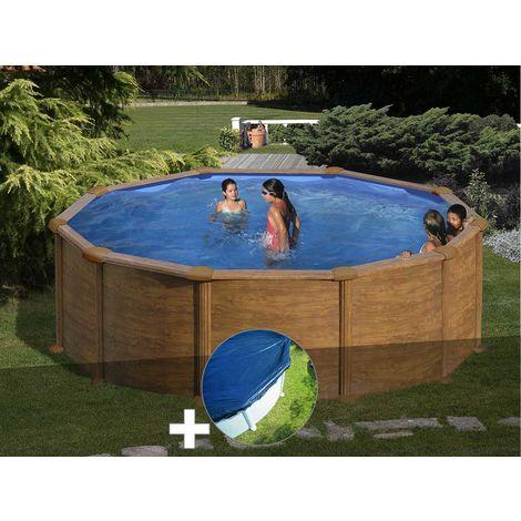 Kit piscine acier aspect bois Gré Mauritius ronde 3,70 x 1,32 m + Bâche hiver