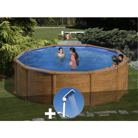 Kit piscine acier aspect bois Gré Mauritius ronde 3,70 x 1,32 m + Douche