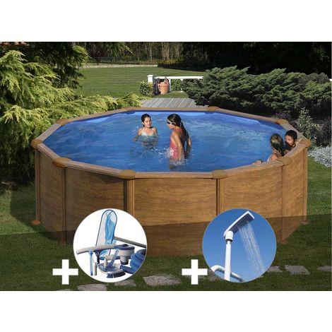 Kit piscine acier aspect bois Gré Mauritius ronde 3,70 x 1,32 m + Kit d'entretien + Douche