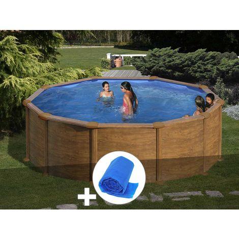 Kit piscine acier aspect bois Gré Mauritius ronde 4,80 x 1,32 m + Bâche à bulles
