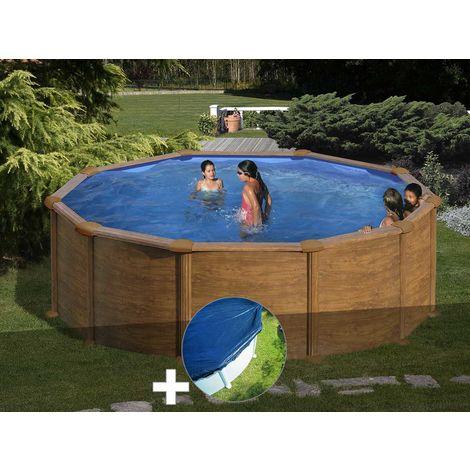 Kit piscine acier aspect bois Gré Mauritius ronde 4,80 x 1,32 m + Bâche hiver
