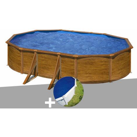 Kit piscine acier aspect bois Gré Pacific ovale 5,27 x 3,27 x 1,22 m + Bâche à bulles