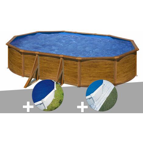 Kit piscine acier aspect bois Gré Pacific ovale 5,27 x 3,27 x 1,22 m + Bâche à bulles + Tapis de sol