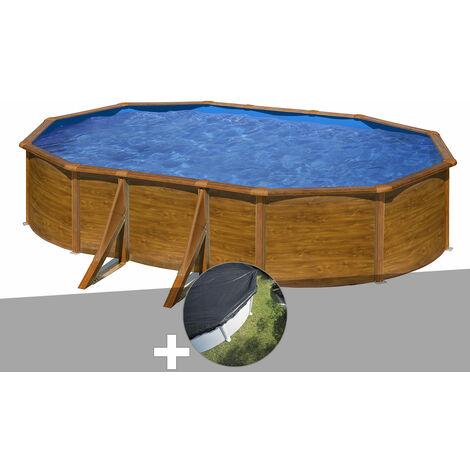 Kit piscine acier aspect bois Gré Pacific ovale 5,27 x 3,27 x 1,22 m + Bâche d'hivernage
