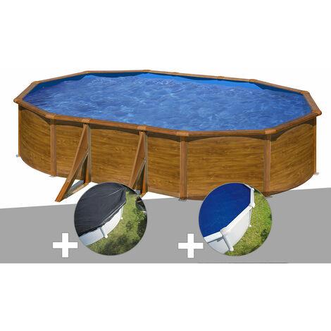 Kit piscine acier aspect bois Gré Pacific ovale 5,27 x 3,27 x 1,22 m + Bâche d'hivernage + Bâche à bulles