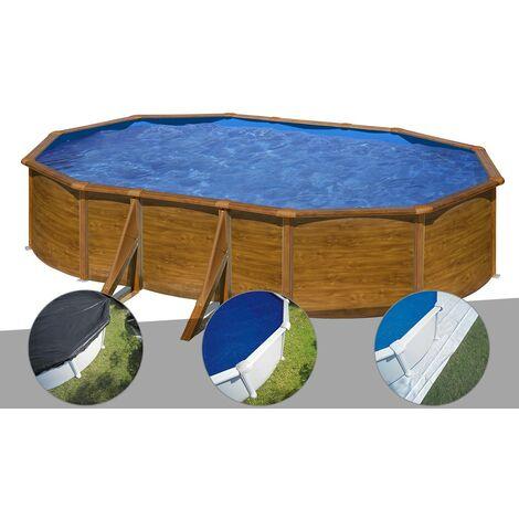 Kit piscine acier aspect bois Gré Pacific ovale 5,27 x 3,27 x 1,22 m + Bâche d'hivernage + Bâche à bulles + Tapis de sol