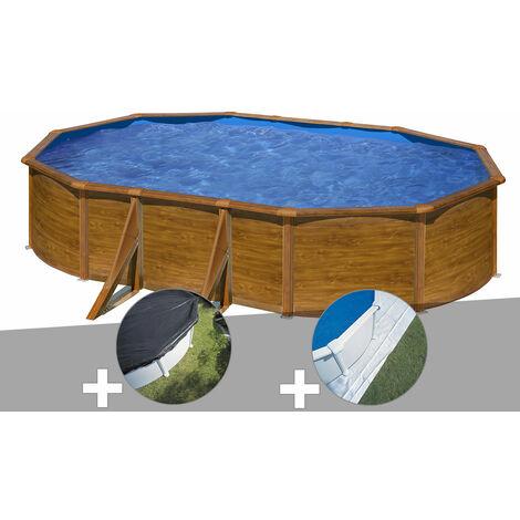 Kit piscine acier aspect bois Gré Pacific ovale 5,27 x 3,27 x 1,22 m + Bâche d'hivernage + Tapis de sol
