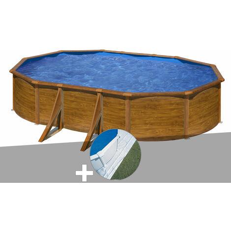 Kit piscine acier aspect bois Gré Pacific ovale 5,27 x 3,27 x 1,22 m + Tapis de sol