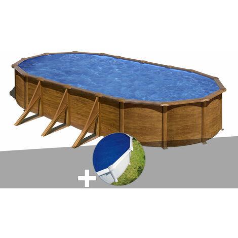 Kit piscine acier aspect bois Gré Pacific ovale 7,44 x 3,99 x 1,22 m + Bâche à bulles