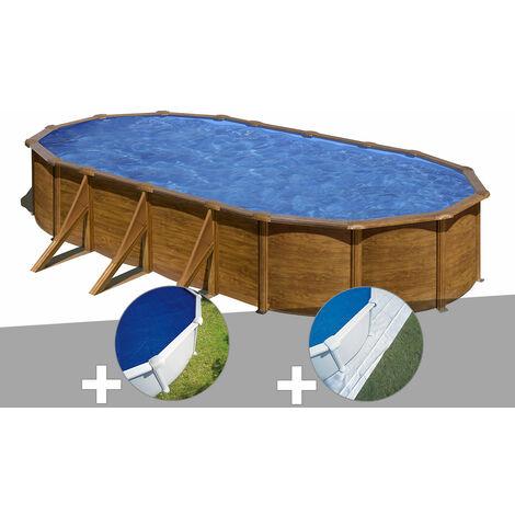 Kit piscine acier aspect bois Gré Pacific ovale 7,44 x 3,99 x 1,22 m + Bâche à bulles + Tapis de sol