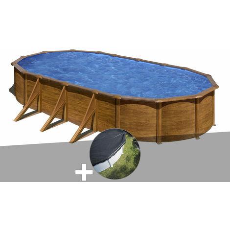 Kit piscine acier aspect bois Gré Pacific ovale 7,44 x 3,99 x 1,22 m + Bâche d'hivernage