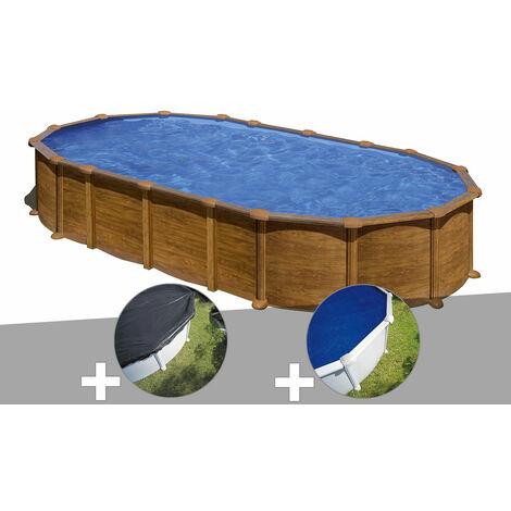 Kit piscine acier aspect bois Gré Pacific ovale 7,44 x 3,99 x 1,22 m + Bâche d'hivernage + Bâche à bulles