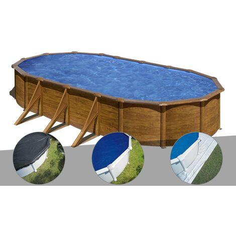 Kit piscine acier aspect bois Gré Pacific ovale 7,44 x 3,99 x 1,22 m + Bâche d'hivernage + Bâche à bulles + Tapis de sol