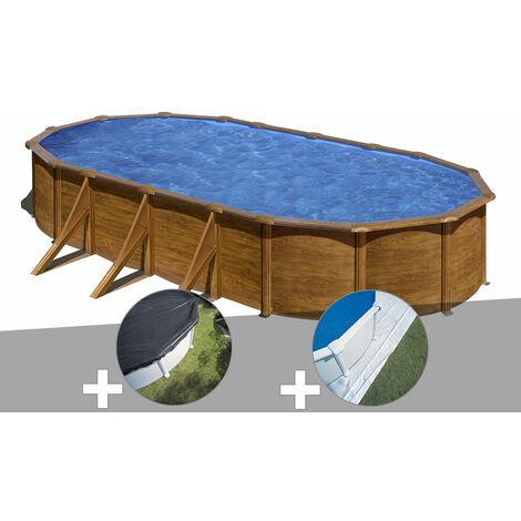 Kit piscine acier aspect bois Gré Pacific ovale 7,44 x 3,99 x 1,22 m + Bâche d'hivernage + Tapis de sol