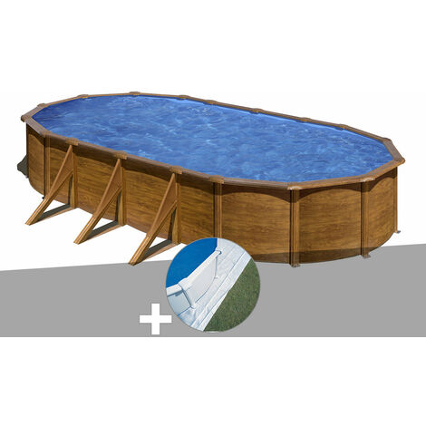 Kit piscine acier aspect bois Gré Pacific ovale 7,44 x 3,99 x 1,22 m + Tapis de sol