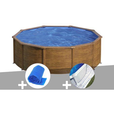 Kit piscine acier aspect bois Gré Sicilia ronde 3,20 x 1,22 m + Bâche à bulles + Tapis de sol