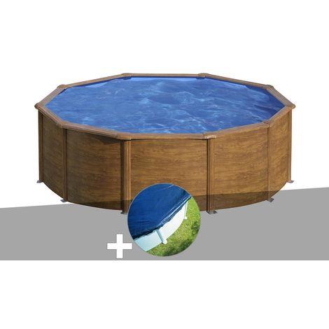 Kit piscine acier aspect bois Gré Sicilia ronde 3,20 x 1,22 m + Bâche hiver