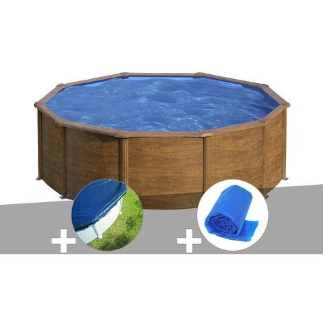 Kit piscine acier aspect bois Gré Sicilia ronde 3,20 x 1,22 m + Bâche hiver + Bâche à bulles