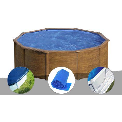 Kit piscine acier aspect bois Gré Sicilia ronde 3,20 x 1,22 m + Bâche hiver + Bâche à bulles + Tapis de sol