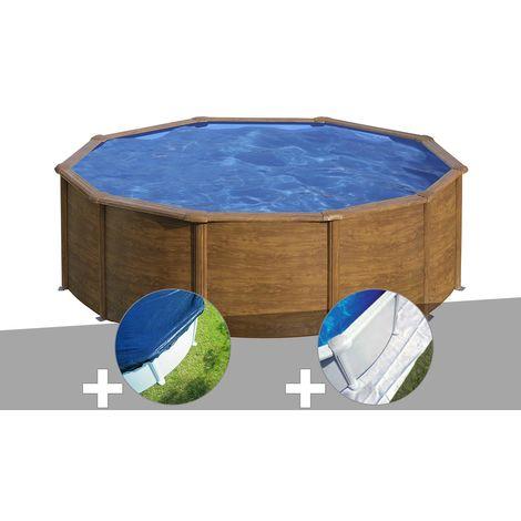 Kit piscine acier aspect bois Gré Sicilia ronde 3,20 x 1,22 m + Bâche hiver + Tapis de sol
