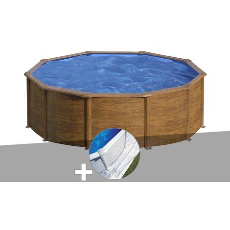 Kit piscine acier aspect bois Gré Sicilia ronde 3,20 x 1,22 m + Tapis de sol