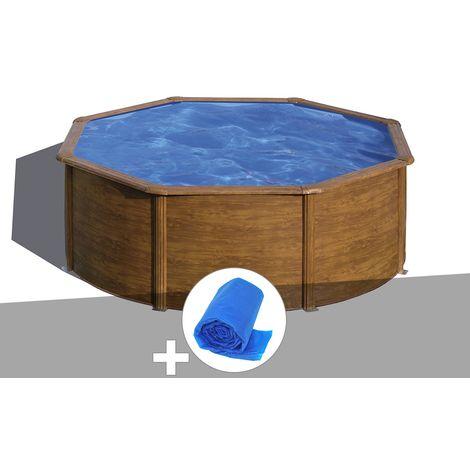 Kit piscine acier aspect bois Gré Sicilia ronde 3,70 x 1,22 m + Bâche à bulles