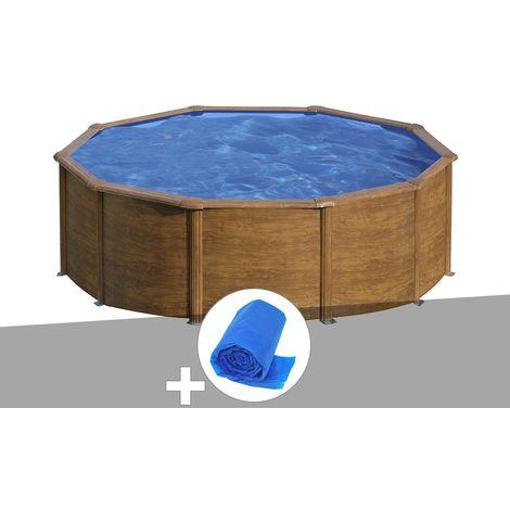 Kit piscine acier aspect bois Gré Sicilia ronde 4,80 x 1,22 m + Bâche à bulles