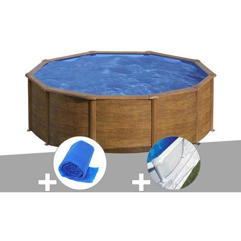 Kit piscine acier aspect bois Gré Sicilia ronde 4,80 x 1,22 m + Bâche à bulles + Tapis de sol