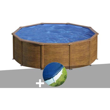 Kit piscine acier aspect bois Gré Sicilia ronde 4,80 x 1,22 m + Bâche hiver