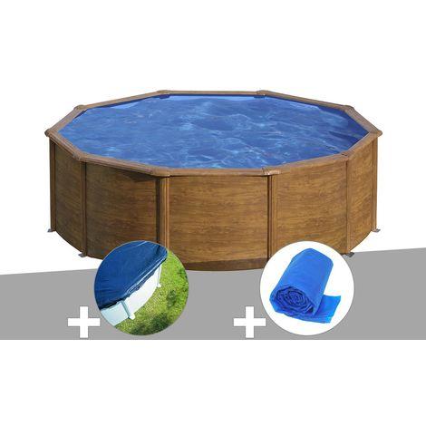 Kit piscine acier aspect bois Gré Sicilia ronde 4,80 x 1,22 m + Bâche hiver + Bâche à bulles